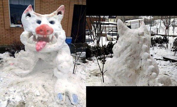 В Ростове слепили из снега «свинозавра» к Рождеству